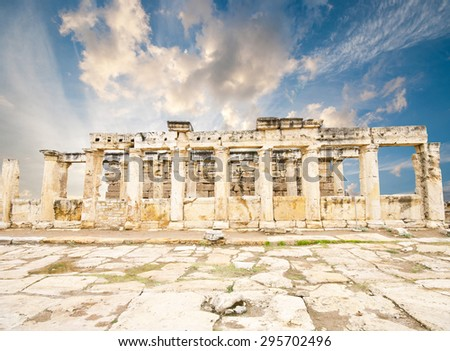 Ancient city of Hierapolis, Pamukkale, Turkey  - stock photo