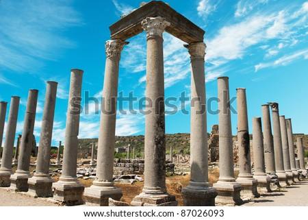Ancient city of Perge near Antalya Turkey - stock photo
