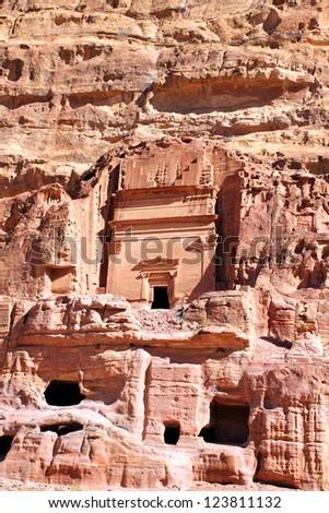 Ancient City of Petra Built in Jordan. - stock photo