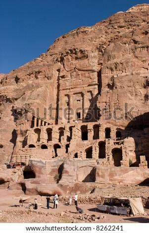 Ancient city of Petra in Jordan - stock photo