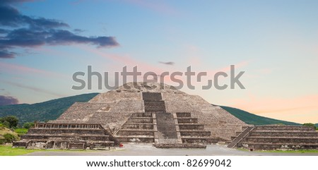 Ancient city of Teotihuacan, pyramid of the moon, Mexico. - stock photo