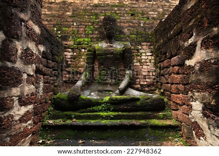Ancient City Old town and Old Temple Old Buddha ( Kamphaeng Phet Historical Park) in Kamphaeng Phet Asia Thailand