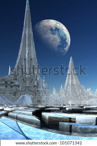 Ancient City, Skyline from a city on an alien planet - stock photo