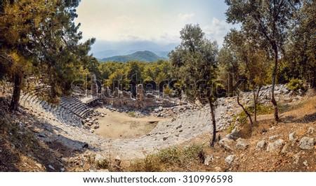 Ancient civilization temple amphitheater panoramic background stock ancient civilization temple amphitheater panoramic background voltagebd Images