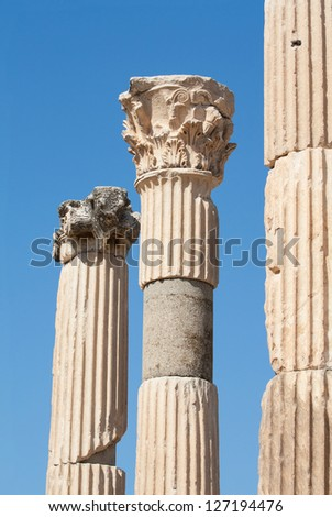 Ancient classical corinthian columns in Ephesus archaeological site, Turkey. - stock photo