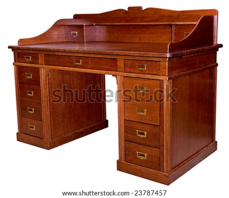 Ancient classical wooden brown table on a white background - stock photo