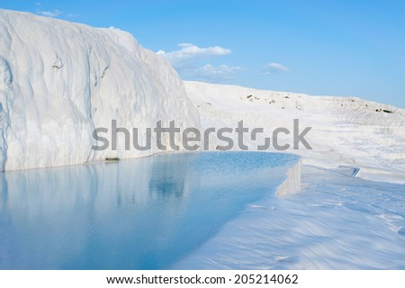 Ancient Cleopatra source water in Pamukkale - stock photo