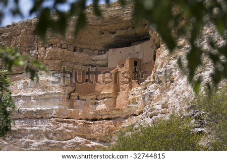 Ancient cliff dwelling - stock photo