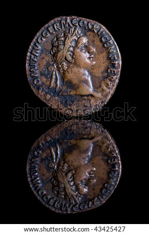 Ancient Coin Reflection - Domitian - stock photo