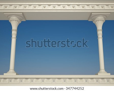 Ancient colonnade on blue sky