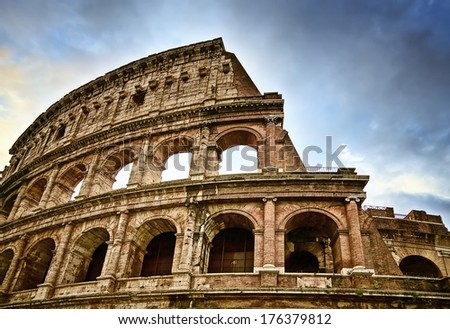 Ancient Colosseum in Rome - stock photo