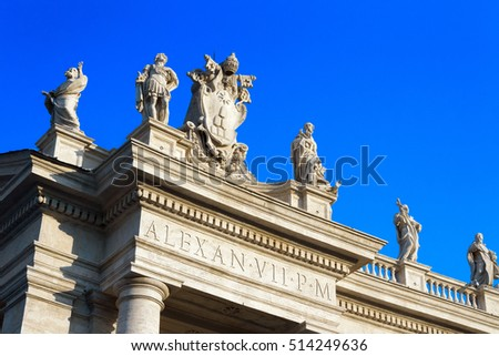 Ancient columns and statues of Papal Basilica of St. Peter in the Vatican, Italy.