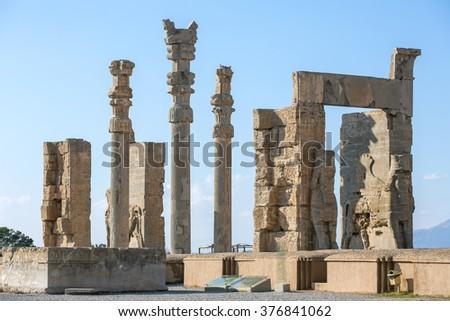Ancient columns in Persepolis city, Iran - stock photo
