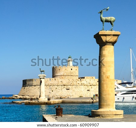 Ancient columns in the port of Rhodes. Greece