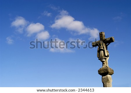 ancient cross in the north of portugal - stock photo