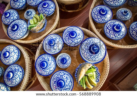 Ancient dinnerware Collections. antique Thai style.Ceremic handcraft bowl sets for special dinner on & Ancient Dinnerware Collections Antique Thai Styleceremic Stock Photo ...