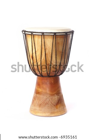 Ancient drum isolated on white - stock photo
