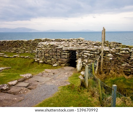 Ancient Dunbeg Promontory Fort on the Dingle Peninsula - stock photo