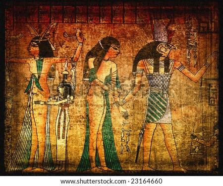 Ancient egirtian papyrus - stock photo