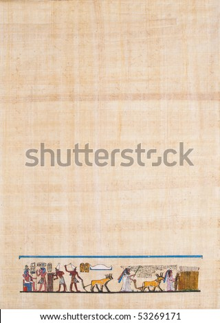 ancient Egyptian agriculture scene on papyrus paper - stock photo