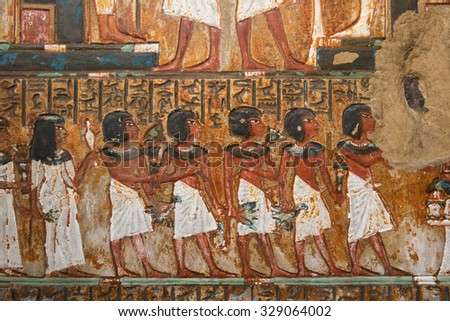 ancient Egyptian mural painting - stock photo