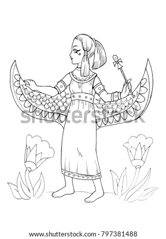 Ancient Egyptian Princess Coloring Page