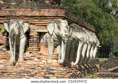 Ancient elephant statue in Sukhothai historical park, Thailand