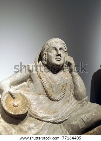 Ancient etruscan art. Sarcophagus of Chiusi, Tuscany. - stock photo