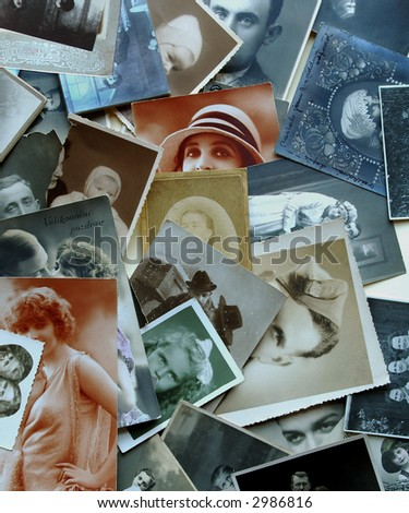 Ancient eyes - background of very old photographs - stock photo