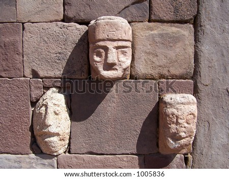 Ancient faces of Tiwanaku. Bolivia - stock photo