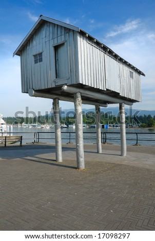 ancient fisherman's hut raised on stilts by Vancouver marina