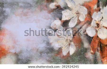 Ancient flower retro background. Style grunge blue shade. Blossoming of cherry. The drawn wall-paper. Letterform.