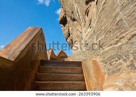 Ancient Footsteps To Sigiriya Rock Fortress. Sigiriya Is UNESCO Listed World Heritage Site In Sri Lanka - stock photo