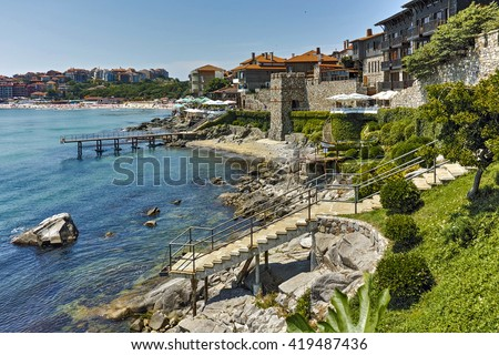 ancient fortifications and Panoramic view of Sozopol town Burgas Region, Bulgaria - stock photo