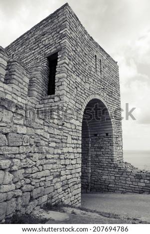 Ancient fortress on Kaliakra headland, Bulgaria, Black Sea Coast - stock photo