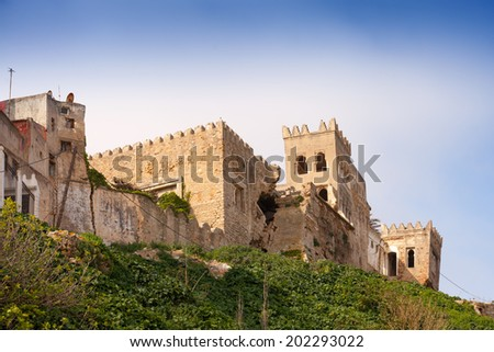 Ancient fortress ruins in Medina of Tangier, Morocco - stock photo