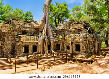 Ancient gallery of amazing Ta Prohm temple overgrown with trees. Mysterious ruins of Ta Prohm nestled among rainforest in Angkor, Siem Reap, Cambodia. Angkor is a popular tourist attraction. - stock photo