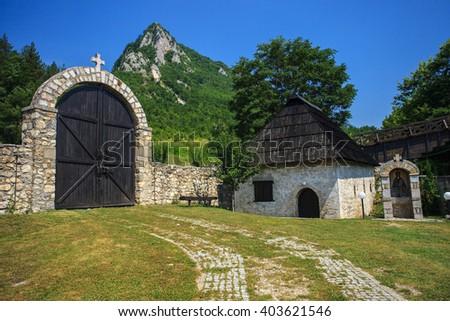 Ancient gate in Orthodox Monastery Mileseva, near Prijepolje, Serbia   - stock photo