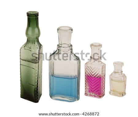 Ancient glass bottles for perfumery. Were used in the beginning of the last century