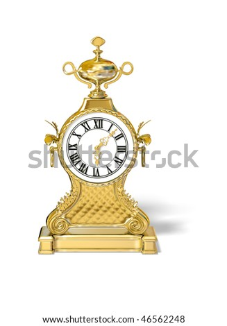 ancient gold clock on the white background