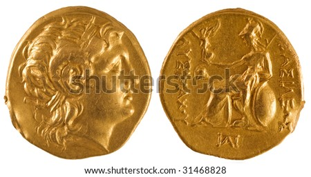 Ancient gold coin of Greece. - stock photo