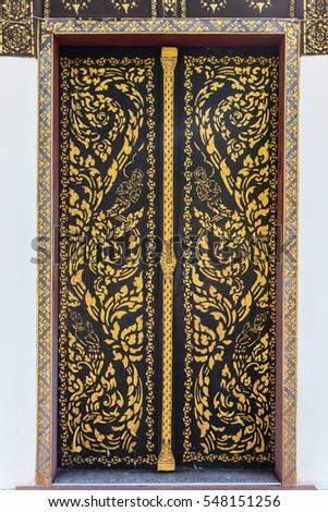 Ancient golden carving wooden door of Thai temple. Thailand & Thailand Golden Pattern Door Stock Photo 90247654 - Shutterstock Pezcame.Com