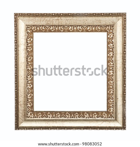 Ancient golden frame isolated on white background. - stock photo