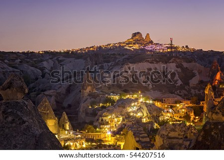 Ancient Goreme town and castle of Uchisar at night in Cappadocia, Central Anatolia,Turkey