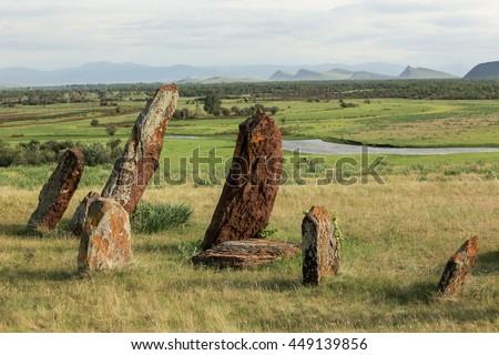 Ancient gravestones in Khakassia. Republic of Khakassia, Siberia, Russia. - stock photo