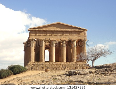 ancient grecian temple - stock photo