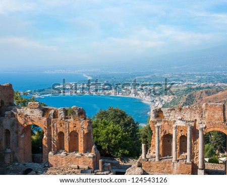 Ancient greek amphitheatre in Taormina city, Sicily island, Italy