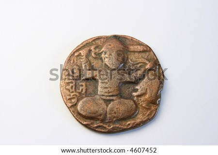 Ancient Greek bronze coin with Heracles - stock photo
