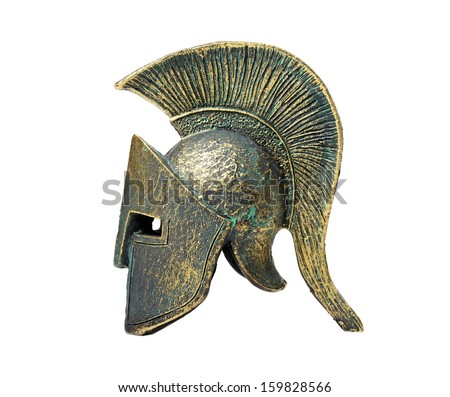 Ancient Greek Helmet Spartan Style Isolated on White - stock photo