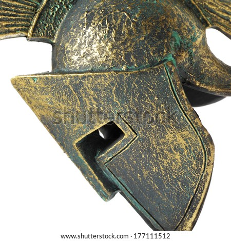 Ancient Greek Helmet Spartan Style on White - stock photo